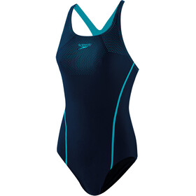 speedo Tech Placement Medalist Traje Baño Una Pieza Mujer, true navy/pool